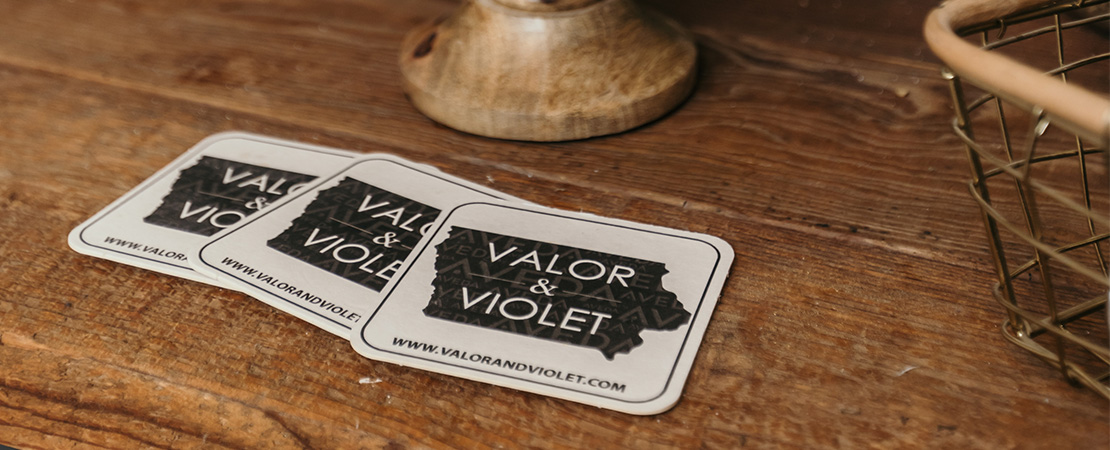 Valor & Violet drink coasters