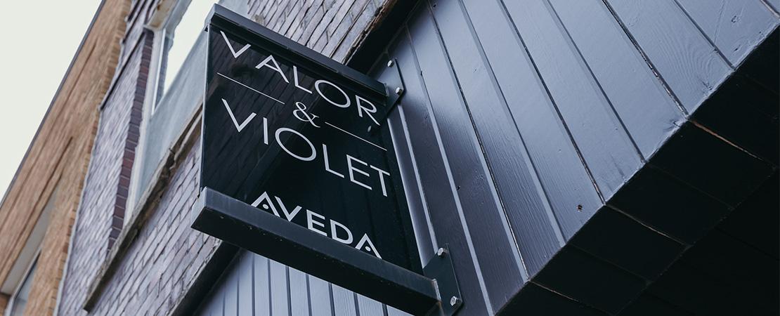Valor & Violet exterior sign